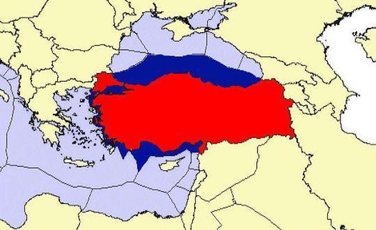 Χάρτης της Τουρκικής ΑΟΖ που δείχνει, όπως και αυτός του Marine Regions, ότι η Τουρκία δεν έχει θαλάσσια σύνορα με την Αίγυπτο.