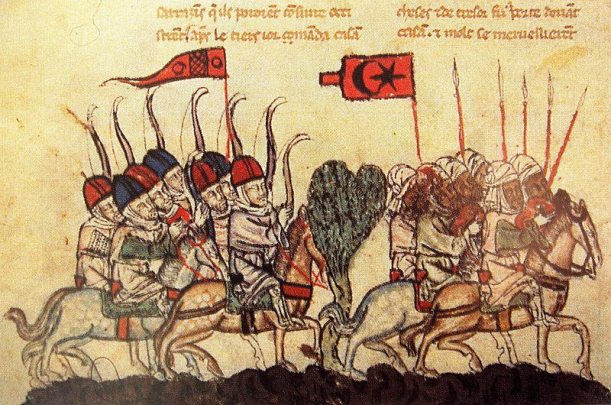 The battle of Wadi al-Khazandar, 1299. depicting Mamluk cavalry and Mongol archers (14th-century illustration from a manuscript of the History of the Tatars)