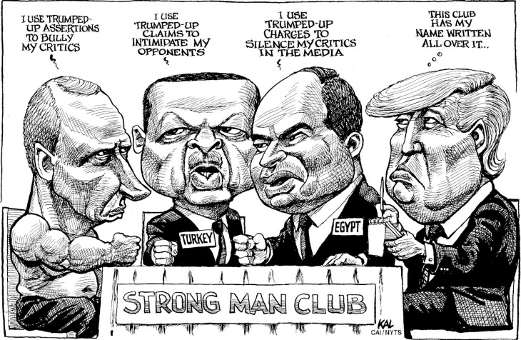 Group: KAL Credit: KAL Source: The Economist - London, England Keywords: DONALD TRUMP STRONG MAN CLUB PUTIN ERDOGAN EGYPT TURKEY RUSSIA MEDIA CENSORSHIP FREE PRESS 051916 Provider: CartoonArts International / The New York Times Syndicate